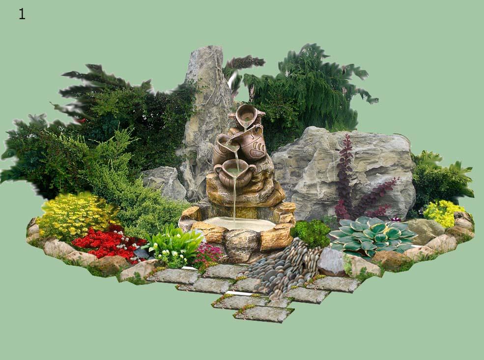 Альпийская горка своими руками с фонтаном пошаговое схемы